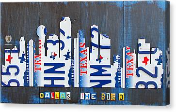Dallas Texas Skyline License Plate Art By Design Turnpike Canvas Print by Design Turnpike