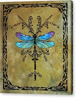 Damselfly Nouveau Canvas Print by Jenny Armitage
