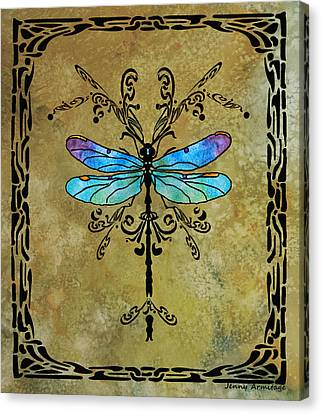 Damselfly Nouveau Canvas Print by Jenny Armitage