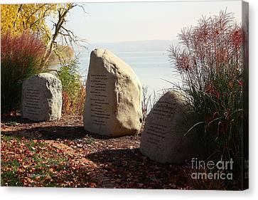 Dan Fogelberg Memorial Site Peoria Riverfront Park Canvas Print by Veronica Batterson