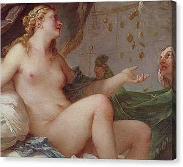 Danae Receiving The Shower Of Gold Canvas Print by Charles Joseph Natoire