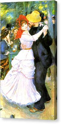 Dance At Bougival Canvas Print by Pierre Auguste Renoir