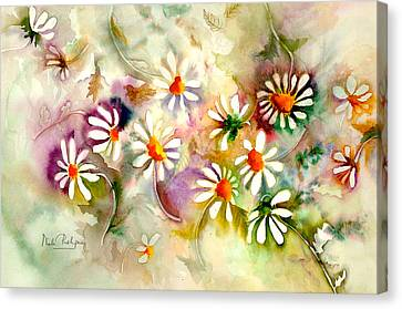 Dance Of The Daisies Canvas Print by Neela Pushparaj