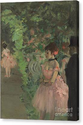 Dancers Backstage Canvas Print by Edgar Degas