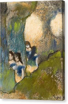 Dancers Behind The Scenes Canvas Print by Edgar Degas
