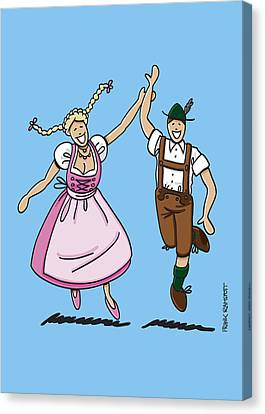 Cartoon Canvas Print featuring the drawing Dancing Couple With Dirndl And Lederhosen by Frank Ramspott