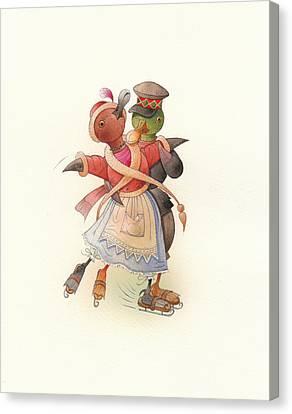 Dancing Ducks 02 Canvas Print by Kestutis Kasparavicius
