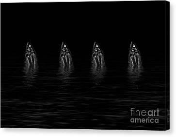 Dancing Fish At Night 4 Canvas Print by Evgeniy Lankin