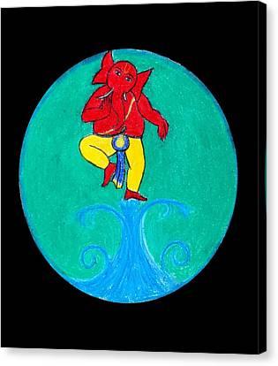 Dancing Ganesha 1 Canvas Print by Pratyasha Nithin