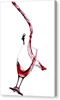 Dancing On A Glass Cup With Splashing Wine Little People On Food Canvas Print by Paul Ge