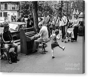 Dancing On A Paris Street Canvas Print by Diane Diederich