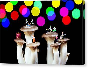 Dancing On Mushroom Under Starry Night Canvas Print by Paul Ge