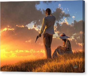Danger At Sundown Canvas Print by Daniel Eskridge