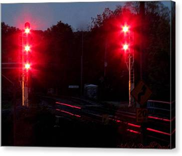 Danger Train Signals On Canvas Print by Danielle  Parent