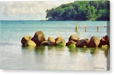 Danish Coast On The Rocks Canvas Print by Jeff Kolker