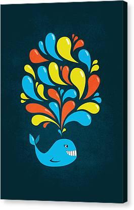 Dark Colorful Splash Happy Cartoon Whale Canvas Print by Boriana Giormova