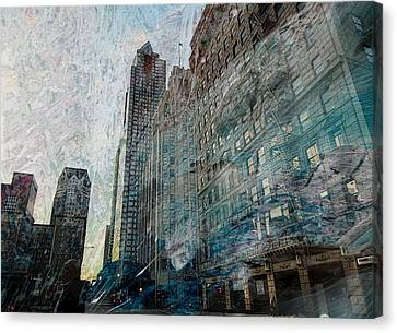 Dark Downtown Streetscene With Confetti And Wind Canvas Print by John Fish