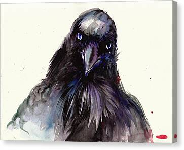 Dark Raven Head Detail - Crow Head Canvas Print by Tiberiu Soos