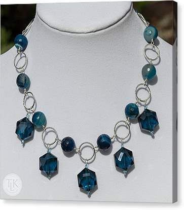 Dark Turquoise Crystal And Faceted Agate Necklace 3676 Canvas Print by Teresa Mucha