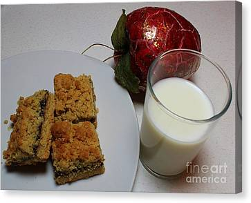 Date Squares - Snack - Dessert - Milk Canvas Print by Barbara Griffin