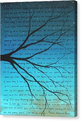 Dave Matthews Band Crush Lyric Art - Blue Canvas Print by Michelle Eshleman