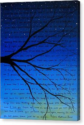 Dave Matthews Band Crush Song Lyric Art Canvas Print by Michelle Eshleman