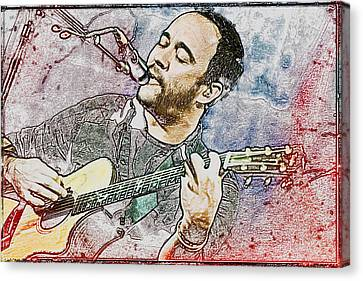 Dave Matthews On Acoustic Guitar 3 Canvas Print by Jennifer Rondinelli Reilly - Fine Art Photography