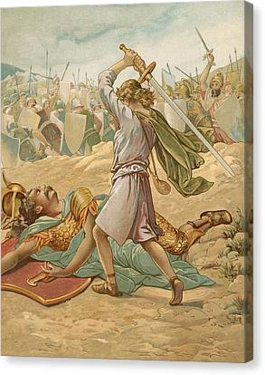 David About To Slay Goliath Canvas Print by John Lawson