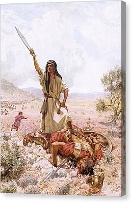 David And Goliath Canvas Print by William Brassey Hole