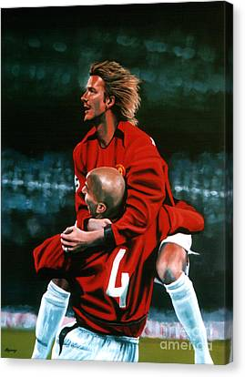David Beckham And Juan Sebastian Veron Canvas Print by Paul Meijering