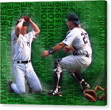 David Cone Yankees Perfect Game 1999 Zoom Canvas Print by Tony Rubino