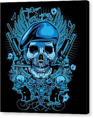 David Cook Studios Army Ranger Military Skull Art Canvas Print by David Cook  Los Angeles Prints