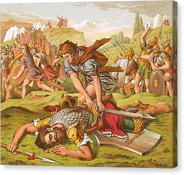David Slaying The Giant Goliath Canvas Print by English School