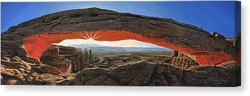 Dawn At Mesa Arch Canyonlands Utah Canvas Print by Richard Harpum