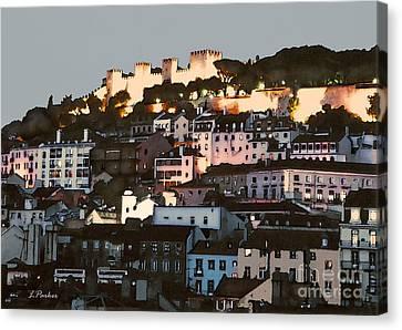 Dawn At St. George Castle Lisbon Canvas Print by Linda  Parker