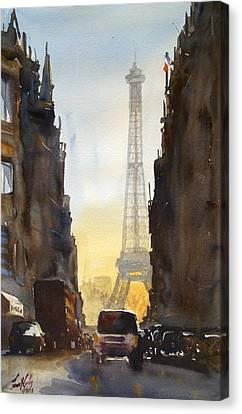 Dawn In Paris Canvas Print by James Nyika