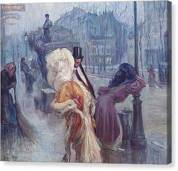 Dawn Leaving The Restaurant In Montmartre Canvas Print by Georges Redon