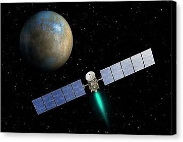 Dawn Spacecraft At Ceres Canvas Print by Nasa/jpl-caltech