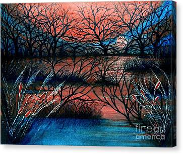 Day Is Done October Sky Canvas Print by Janine Riley