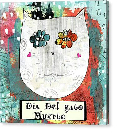 Day Of The Dead Cat Canvas Print by Sarah Ogren