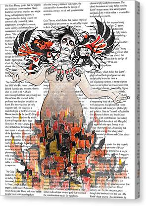 Day Of The Dead Gaia In Flames With Text Illustration Print Canvas Print by Sassan Filsoof