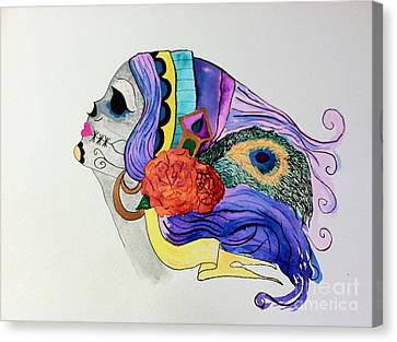 Day Of The Dead Lady 2 Canvas Print by Melissa Darnell Glowacki