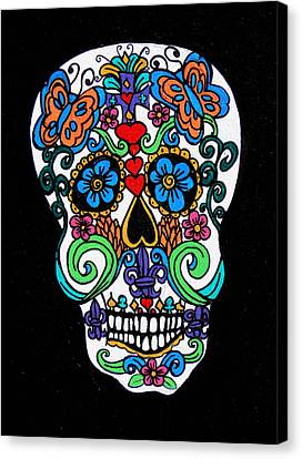Day Of The Dead Skull Canvas Print by Genevieve Esson