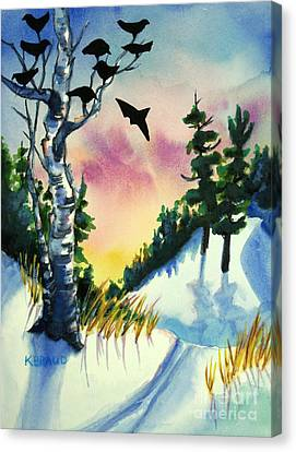 Daybreak Ski              Canvas Print by Kathy Braud