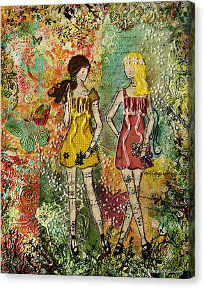 Days Like These Unique Botanical Mixed Media Artwork Of Sisters And Friends Canvas Print by Janelle Nichol