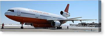 Canvas Print featuring the photograph Dc-10 Air Tanker At Rapid City by Bill Gabbert