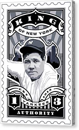 Dcla Babe Ruth Kings Of New York Stamp Artwork Canvas Print by David Cook Los Angeles