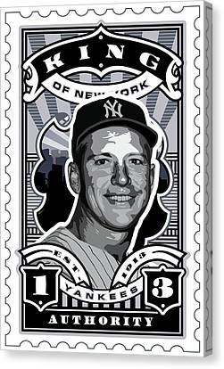 Dcla Mickey Mantle Kings Of New York Stamp Artwork Canvas Print by David Cook Los Angeles