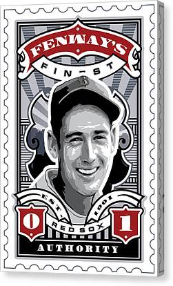 Dcla Ted Williams Fenway's Finest Stamp Art Canvas Print by David Cook Los Angeles