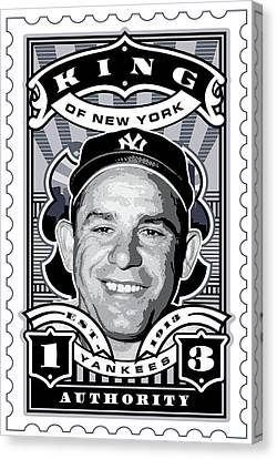 Dcla Yogi Berra Kings Of New York Stamp Artwork Canvas Print by David Cook Los Angeles